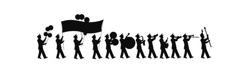 Large marching band in silhouette. Parade band marching and carrying banner in silhouette Royalty Free Stock Photography