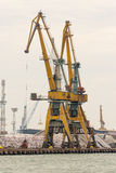 Large marine cranes in the port of Burgas in Bulgaria Stock Images