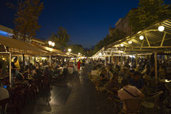 Large Market Street In Nice At Night, France Royalty Free Stock Photos