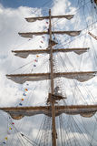 Large mast of an old sailing ship Royalty Free Stock Images