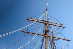Large mast of an old sailing ship Stock Images