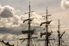 Large mast of an old sailing ship Royalty Free Stock Photos