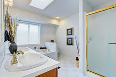 Large master bathroom with light blue walls. Stock Images
