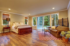Large master bedroom wth hardwood floor. Large master bedroom with hardwood floor and sliding glass door to backyard Stock Photography