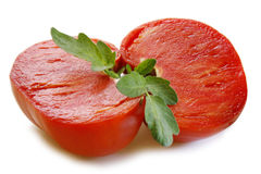 Large mature ox heart tomatoes. Royalty Free Stock Images