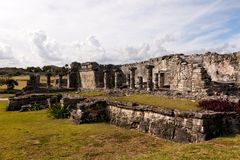 Large Mayan Building at Tulum Stock Photo