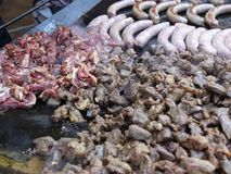 Large meat tray - sheep meat. And sausages stock video footage