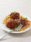 Large meatballs with spaghetti Royalty Free Stock Photography