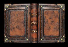 Free Large Medieval Book Cover With The Tree Of Life, Leather Bound With Brass Corners Over The Black Background Royalty Free Stock Images - 143986709