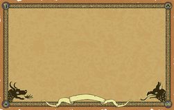 Free Large Medieval Fantasy Map Frame With Dragon And Chimera Stock Photos - 168582463