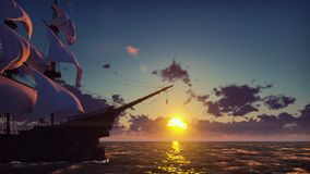 Large medieval ship on the sea on a sunrise. The old medieval ship gracefully sails in the open sea. 3D Rendering. Large medieval ship on the sea on a sunrise stock photo