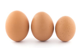 Large, medium and small chicken egg. Three upright brown chicken eggs in a row. One large, one medium and one small stock photos