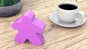 A large meeple next to a cup of coffee. 3d render stock illustration