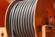 Large metal coil with electric cable Royalty Free Stock Photo