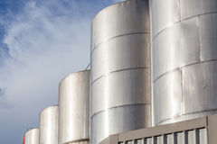 Large metal industrial tanks for petrol and oil of refinery indu Royalty Free Stock Photo