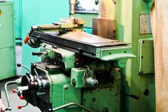 Large metal iron bench lathe, equipment for repair, work with metal in the workshop at the metallurgical plant in the repair royalty free stock image