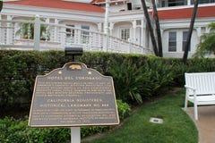 Large metal sign speaking to the historic landmark, Hotel Del Coronado, San Diego, California, 2016 Royalty Free Stock Photos