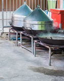 Large metal steamer in the traditional Thai style. Royalty Free Stock Photos