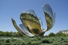 Large Metal Tulip Sculpture in Buenos Aires royalty free stock photography