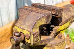 Large metal vise on the street stock photo