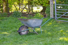 Large Metal Wheelbarrows Royalty Free Stock Photography