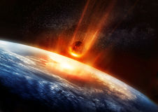 Large Meteor And Earth. A large Meteor burning and glowing as it hits the earth's atmosphere. 3D illustration Royalty Free Stock Images