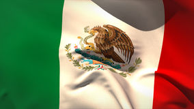 Large mexico national flag waving stock footage