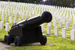 Large Military Cannon Stands Enlisted Men Cemetery Headstones Burial Grounds Royalty Free Stock Images