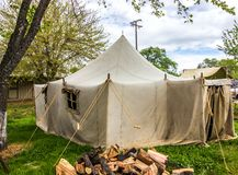 Large Military Style Canvas Tent At Local Event. Large Military Style Canvas Tent With Windows & Door Flaps At Local Event royalty free stock photography
