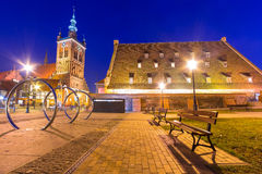 The Large Mill and St. Catherine's Church in Gdansk Stock Photography