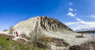Large mining Spoil tip hill  in Rummu quarry, Estonia Royalty Free Stock Images
