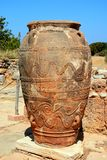 Large Minoan terracotta pot, Malia. Ancient large decorated terracotta pot at the Minoan Malia ruins archaeological site, Malia, Crete, Greece, Europe Stock Photography