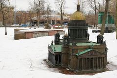 St. Petersburg, Russia, March 10, 2019. Large model of St. Isaac`s Cathedral on the snow-covered site. stock photography