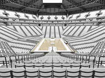 Large modern basketball arena with white seats. 3D render of beautiful sports arena for basketball with floodlights , VIP boxes and white seats for twenty stock illustration