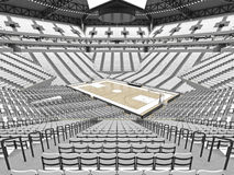 Large modern basketball arena with white seats. 3D render of beautiful sports arena for basketball with floodlights , VIP boxes and white seats for twenty royalty free illustration