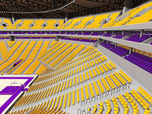 Large modern basketball arena with yellow seats Royalty Free Stock Photo