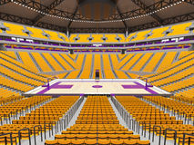 Large modern basketball arena with yellow seats. 3D render of beautiful sports arena for basketball with floodlights , VIP boxes and yellow seats for twenty vector illustration