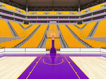 Large modern basketball arena with yellow seats. 3D render of beautiful sports arena for basketball with floodlights , VIP boxes and yellow seats for twenty royalty free illustration