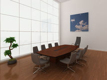 Large, modern boardroom. High quality illustration of a modern, minimal boardroom or meeting room with extra large window