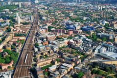 Large modern city center viewed from above royalty free stock image