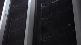 Large modern computing center. Server racks with flashing lights. Large modern computing center. Server racks with flashing lights stock video footage