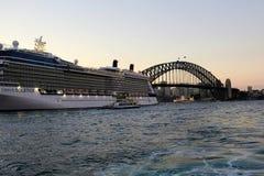 Cruise Ship in Circular Quay, and Sydney Harbour Bridge, at Dusk, Australia Royalty Free Stock Photos