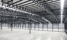 Large modern empty storehouse Royalty Free Stock Images
