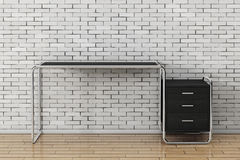 Large Modern Empty Wooden Office Table with Drawers. 3d Renderin. Large Modern Empty Wooden Office Table with Drawers in front of brick wall. 3d Rendering Royalty Free Stock Photos