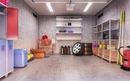 Garage interior 3d illustration Stock Photo