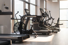 Large Modern Gym With Workout Equipment. Modern Gym Room Fitness Center With Equipment And Machines Royalty Free Stock Image