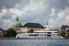 Large modern luxury yacht anchored in harbor of Copenhagen Stock Photos
