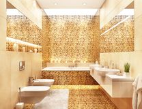 Large modern mosaic bathroom with large mirror. Large modern mosaic bathroom with two large mirror vector illustration
