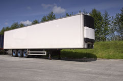 Large modern refrigerated truck trailer. Freight, place advert on white Stock Images