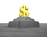 Large money symbol on concrete podium Stock Photos